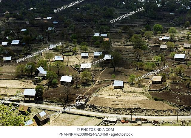 High angle view of a village, Kashmir Valley, Jammu And Kashmir, India