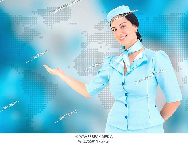 Stewardess against blue map