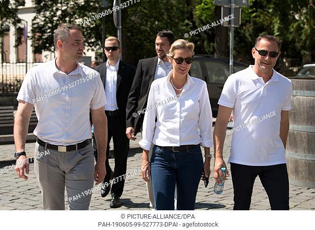 05 June 2019, Saxony, Görlitz: Sebastian Wippel (l-r), AfD Member of State Parliament and Lord Mayor candidate for Görlitz, Alice Weidel