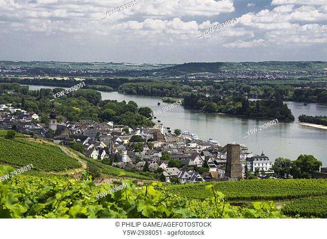 Rudesheim on the banks of the Danube (Donau), Upper Middle Rhine Valley, Germany