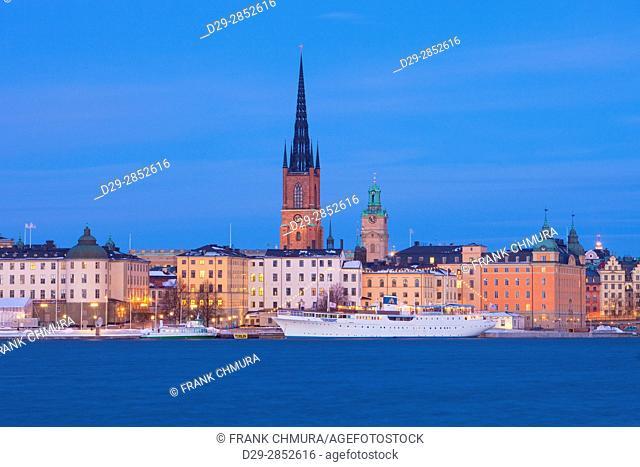 Sweden, Stockholm - Riddarholmen Island at Dusk