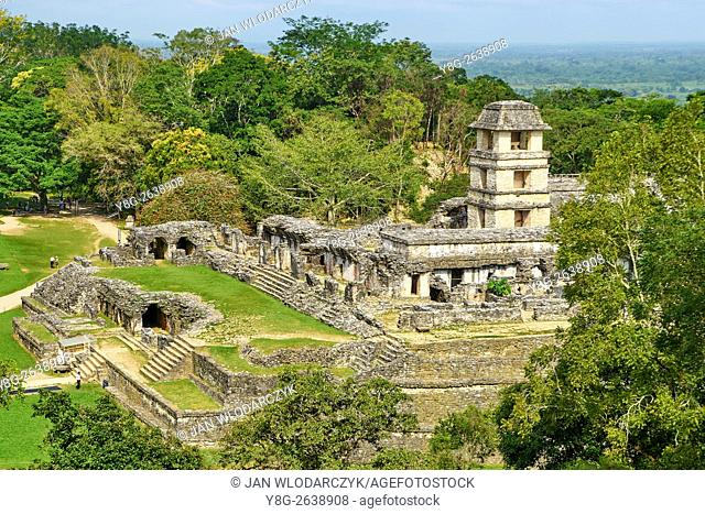 Ruin of Maya Palace, Palenque Archaeological Site, Palenque, Chiapas, Mexico