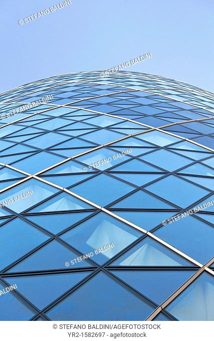 The gherkin swiss RE building, detail, London, England, UK