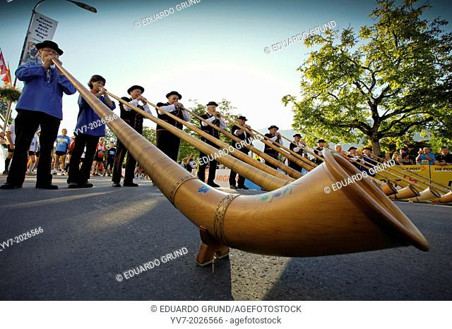 Celebrations of the beginning of the Jungfrau Marathon 2011, where they could not miss the famous Horns of the Alps. Interlaken, Canton of Bern, Switzerland