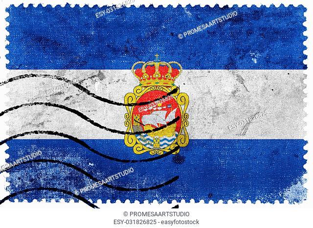 Flag of Aviles, Spain, old postage stamp
