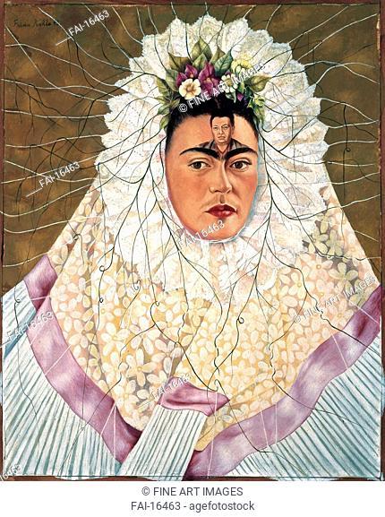 Self-Portrait as Tehuana or Diego on My Mind. Kahlo, Frida (1907-1954). Oil on hardboard. Surrealism. 1943. La Colección de Arte Mexicano Moderno y...