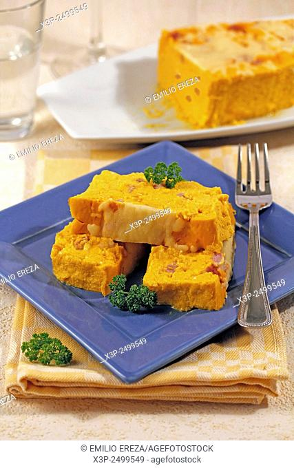 Pumpkin terrine with cheese and ham