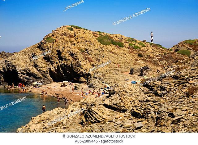 Lighthouse. Favaritx Cape. S Albufera des Grau Natural Park. Menorca. Balearic island. Spain