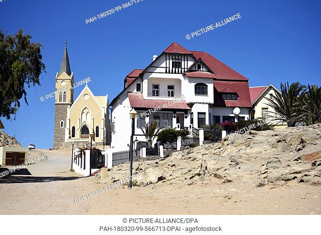 17 Febuary 2017, Namibia, Luederitz:The rock church in Luederitz was created in 1912. There are two places with the same name in the world