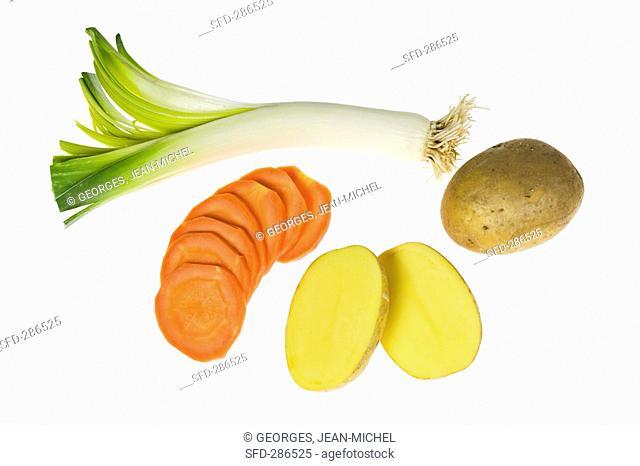 Leek, potatoes and carrots