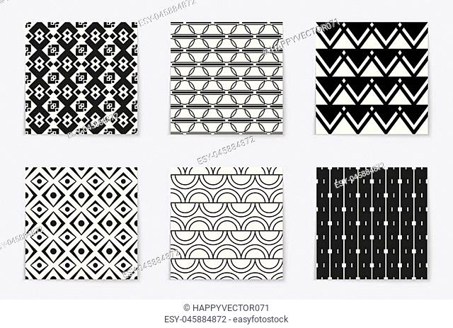Abstract concept vector monochrome geometric pattern. Black and white minimal background. Creative illustration template. Seamless stylish texture