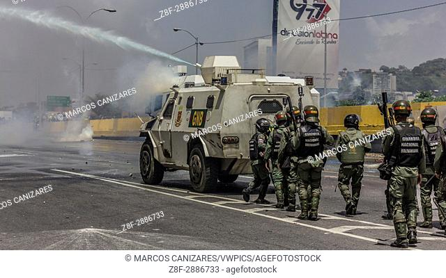 Caracas, Venezuela, on Friday, May 26, 2017. Anti-government protesters took to the streets in an attempt to encourage the armed forces to curb the repression...