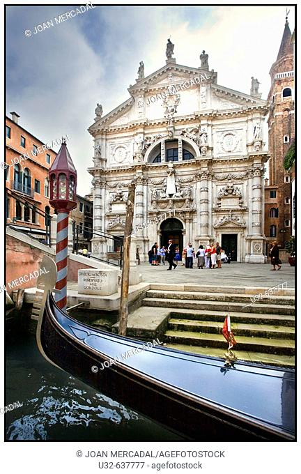 San Moisè church and gondola. Venice. Italy