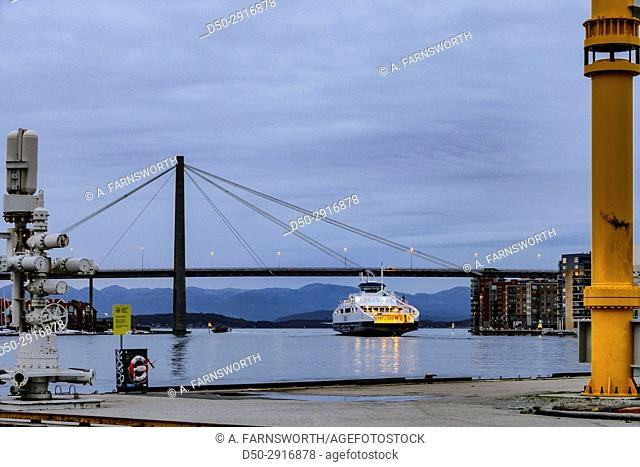 STAVANGER NORWAY Stavanger Bybrua Bridge and ferries