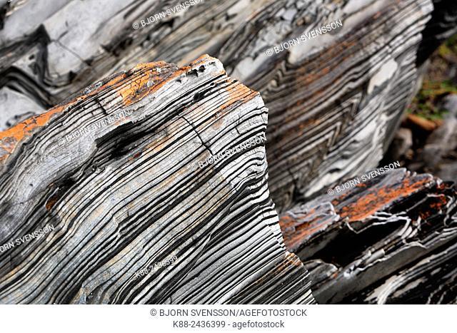 Unique rock formations at Harvey's return geological site. Kangaroo Island, South Australia