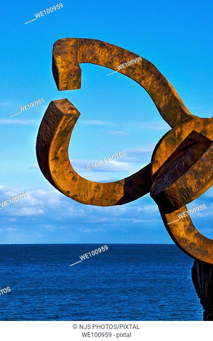 "Sculpture by Eduardo Chillida ""El Peine del Viento"", Donostia-San Sebastián, Guipúzcoa, Basque Country, Spain"