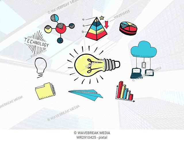 Colourful lightbulb and Statistics text with drawings graphics