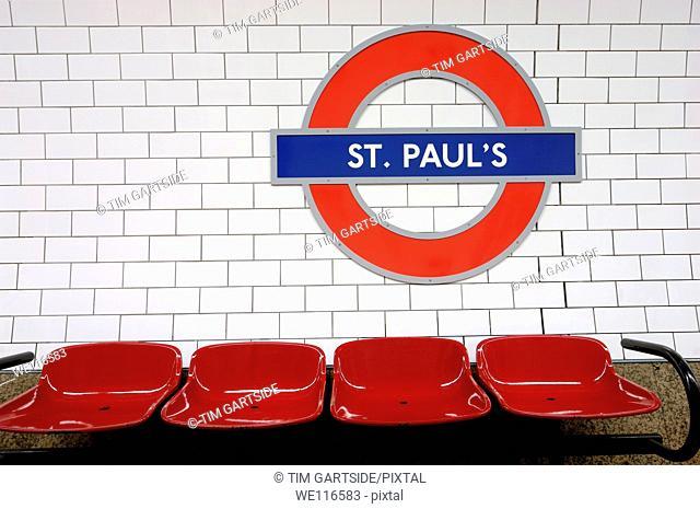 seats inside St Paul's tube station, London, England, UK