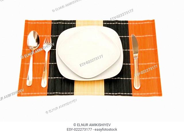 Set of table utensils isolated on white