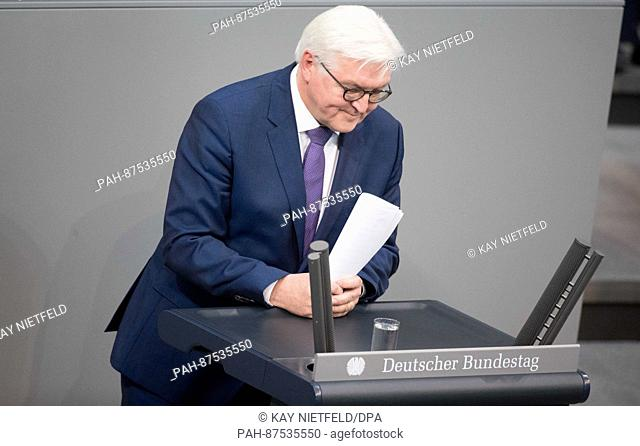 The outgoing German foreign minister Frank-Walter Steinmeier makes a speech - his last in his current capacity - in the Bundestag in Berlin, Germany