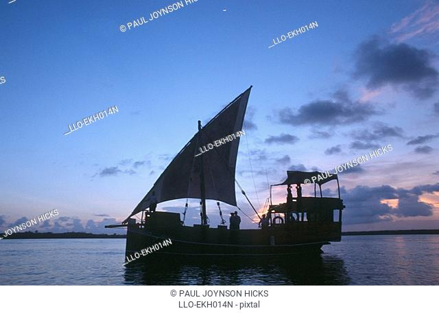Silhouette of a Couple on a Dhow at Sunset  Mombasa, Kenya