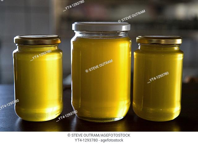 Jars of delicious Cretan, Mediterranean Honey