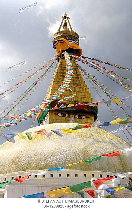 UNESCO World Heritage Site, Tibetan Buddhism, architecture, Bodhnath Stupa, Boudhanath, Boudha, two eyes looking down, colorful prayer flags, Kathmandu, Nepal