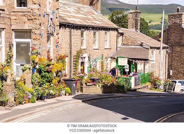 Laburnum House Tea Room at Hawes , Wensleydale , in the Yorkshire Dales in Yorkshire , England , Britain , Uk
