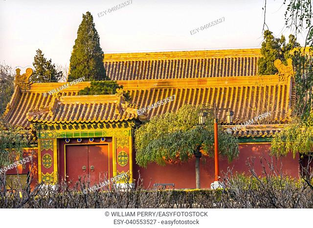 Ancient Yellow Buildings Garden Jingshan Park North Many Pavilions Beijing, China. Part of the Forbidden City, later a separate park, built in 1179