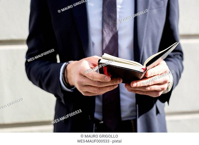 Businessman outdoors holding diary