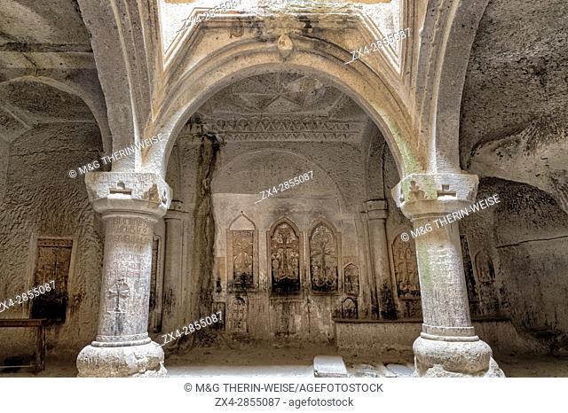 4th century Geghard Monastery, Interior, Bas-relief, Kotayk Province, Yerevan, Armenia, Caucasus, Asia, Unesco World Heritage Site