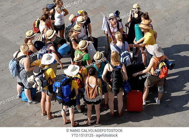 JMJ Pilgrims at Puerta del Sol, Madrid, Spain, during Pope's visit to the city