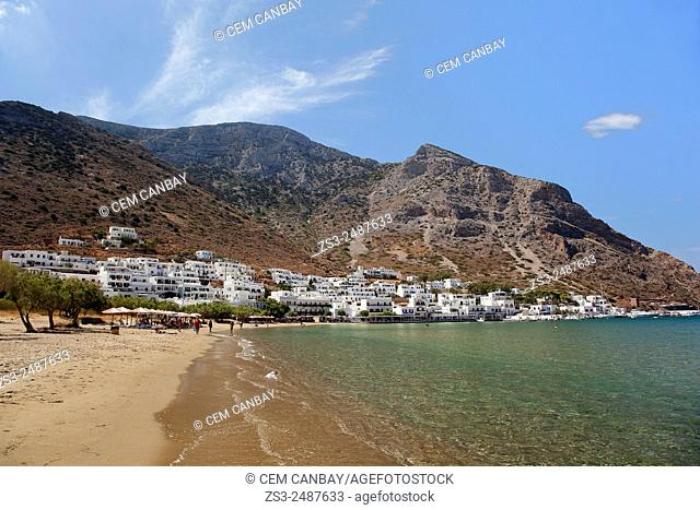 Scene from the beach near the port in Kamares at sunset, Sifnos, Cyclades Islands, Greek Islands, Greece, Europe
