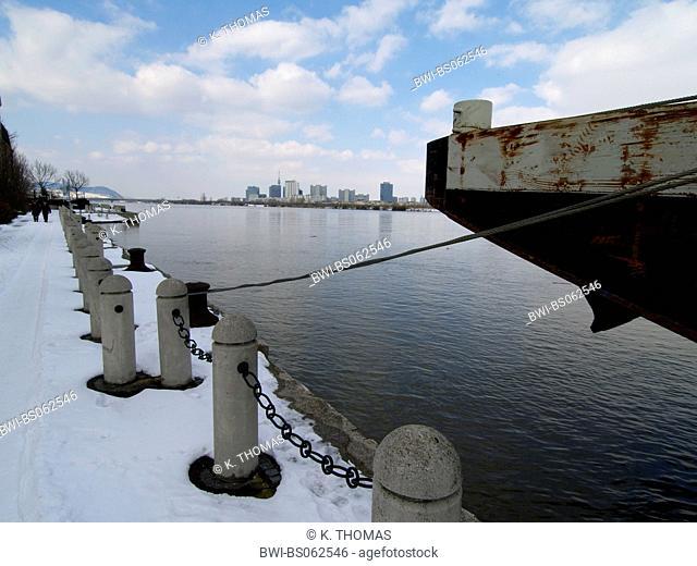 Vienna, Handelskai, ship, Danube, Danube City, Austria, Vienna, 2. district, Vienna - Handelskai
