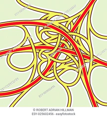 Editable vector illustrated map of a complicated three-road generic intersection