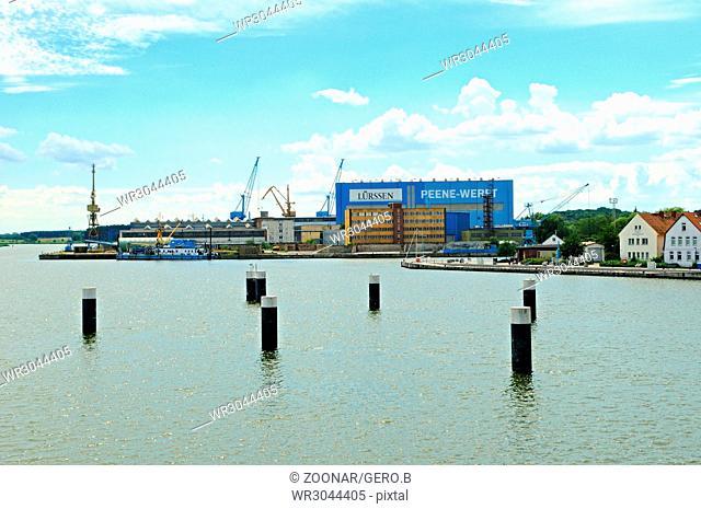 The Peene-Werft from the Peene bridge in Wolgast Baltic Sea Germany