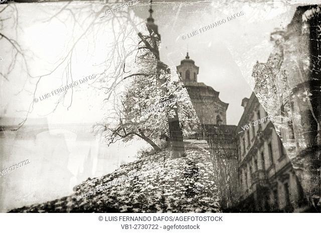 Prague reflections, fall, vintage. Czech Republic
