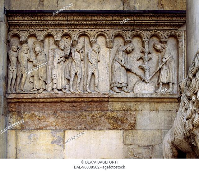 Expulsion from Paradise, scenes from Stories of Genesis, by Wiligelmo (ca 1099-1120), bas-relief, Metropolitan Cathedral of Saint Mary of the Assumption and St...