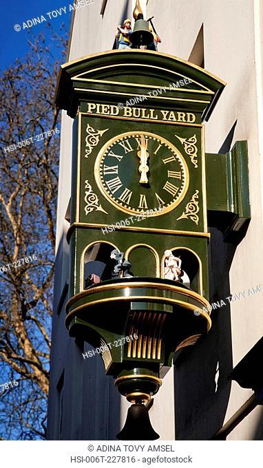 UK. England. London. Close-up of clock outside Pied Bull Yard