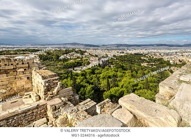 Panorama of Athens, Greece, from the Acropolis, an ancient citadel located on a rocky outcrop above the city and famous landmark in Athens, Greece