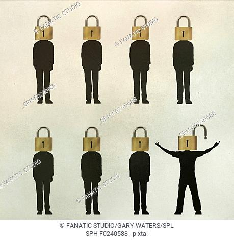 Conceptual illustration of seven men with closed locks for heads and one with an open lock depicting an open mind, creative thinking and freedom of thoughts