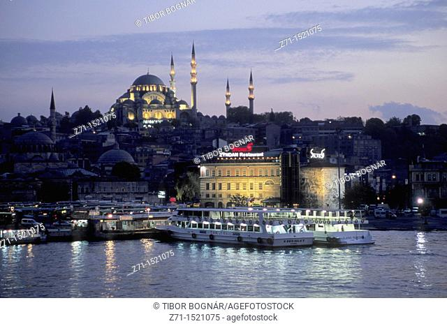 Turkey, Istanbul, Mosque of Sultan Suleyman, Golden Horn