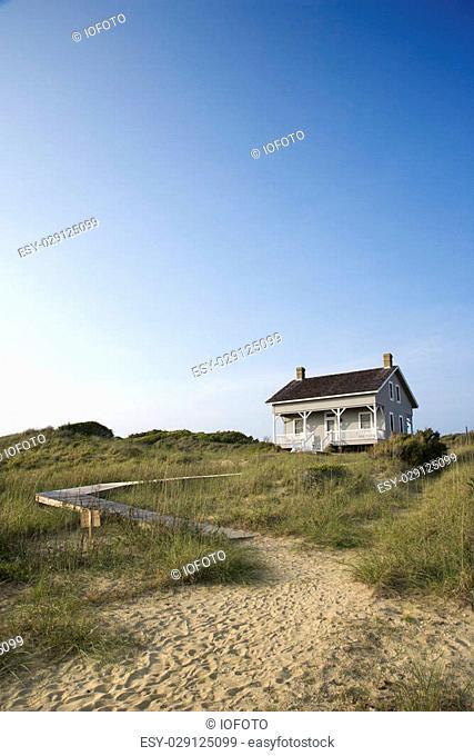Coastal house with pathway to beach on Bald Head Island, North Carolina