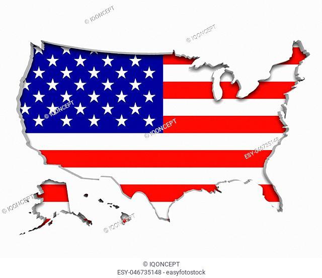 United States of America USA Flag Map Symbol National Pride 3d Illustration