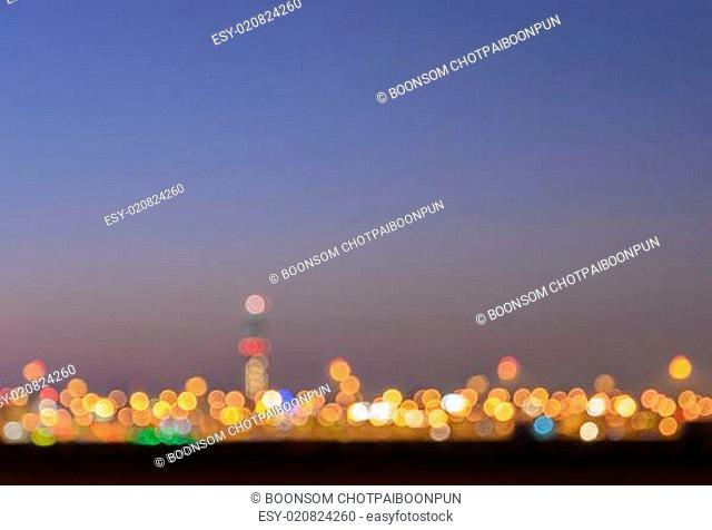 Blurred bokeh city lights abstract