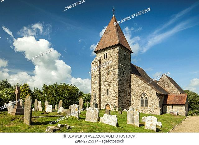 Spring afternoon at the Norman church of St Laurence, East Sussex, England
