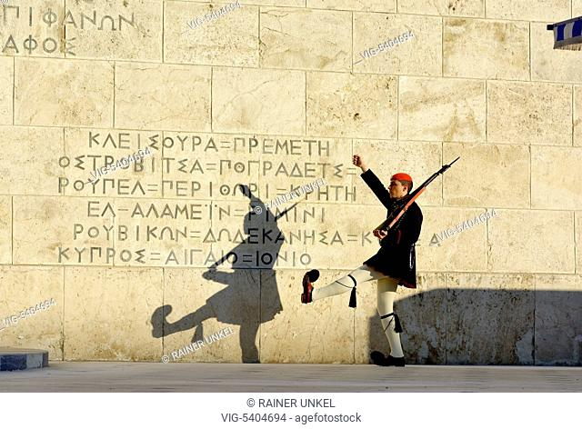 GRC , GREECE : A soldier ( Evzone ) in front of the parliament at Syntagma Square in Athens , 03.02.2016 - Athens, Attica, Greece, 03/02/2016