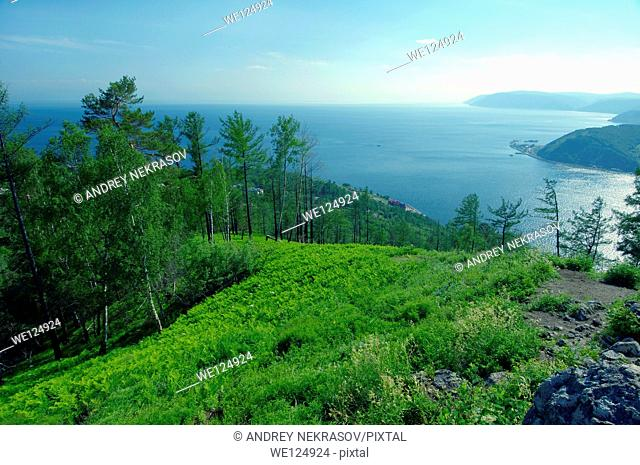 Landscape, settlement Listvyanka, Lake Baikal, Irkutsk region, Siberia, Russian Federation