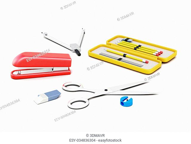 Stationery set isolated on white background. School supplies, recruitment of the student. 3d rendering