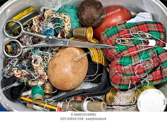 colorful sewing kit close up